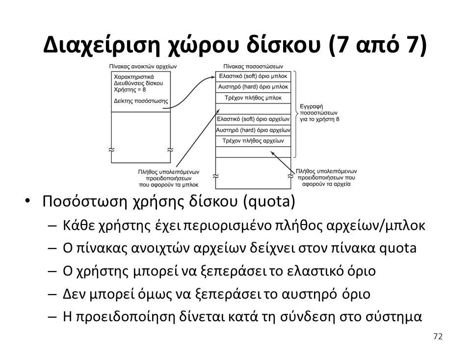Διαχείριση χώρου δίσκου (7 από 7) Ποσόστωση χρήσης δίσκου (quota) – Κάθε χρήστης έχει περιορισμένο πλήθος αρχείων/μπλοκ – Ο πίνακας ανοιχτών αρχείων δ
