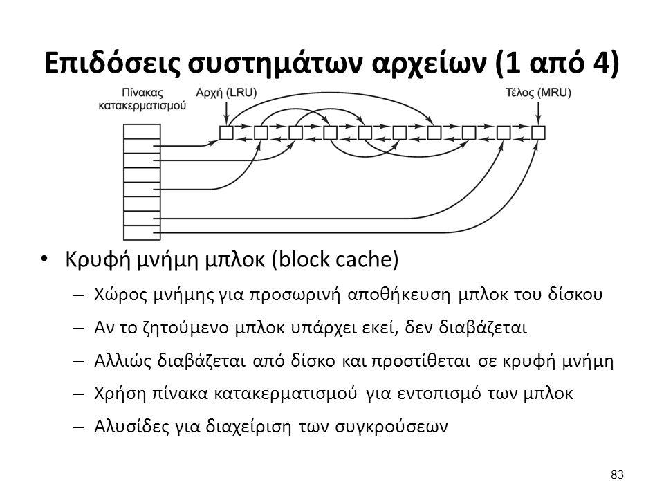Επιδόσεις συστημάτων αρχείων (1 από 4) Κρυφή μνήμη μπλοκ (block cache) – Χώρος μνήμης για προσωρινή αποθήκευση μπλοκ του δίσκου – Αν το ζητούμενο μπλο