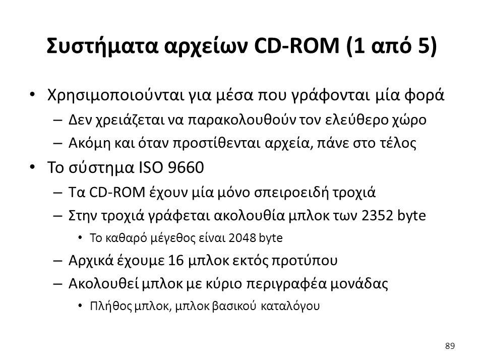 Συστήματα αρχείων CD-ROM (1 από 5) Χρησιμοποιούνται για μέσα που γράφονται μία φορά – Δεν χρειάζεται να παρακολουθούν τον ελεύθερο χώρο – Ακόμη και ότ