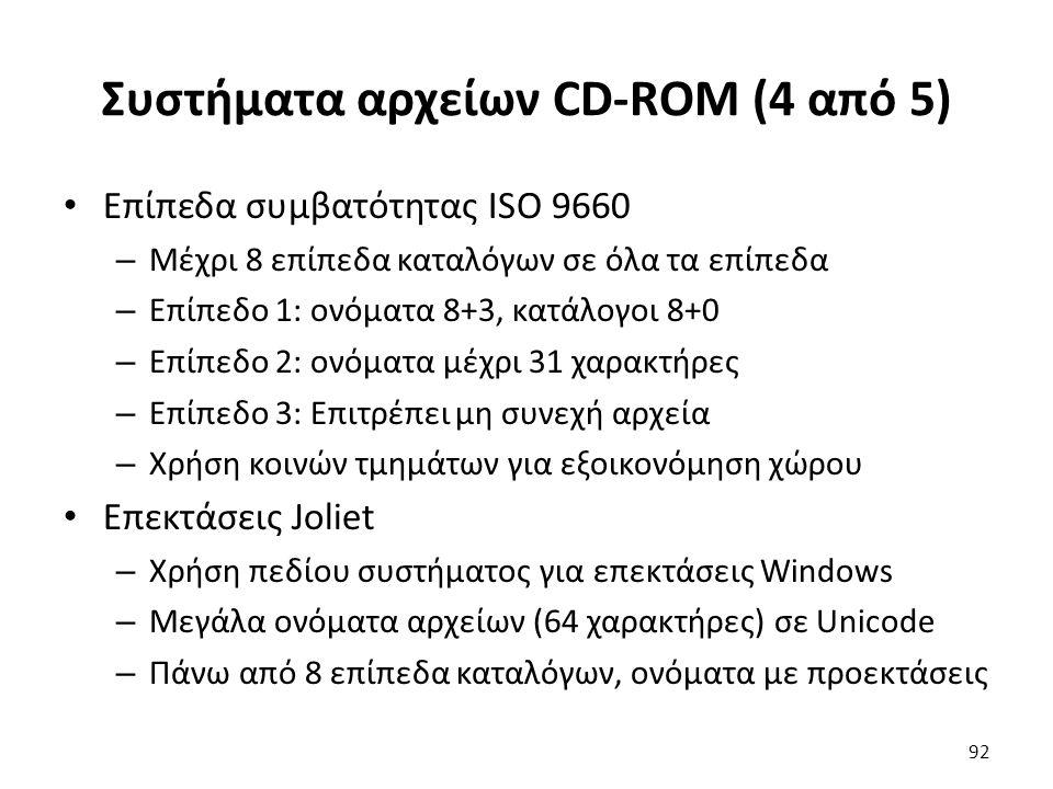 Συστήματα αρχείων CD-ROM (4 από 5) Επίπεδα συμβατότητας ISO 9660 – Μέχρι 8 επίπεδα καταλόγων σε όλα τα επίπεδα – Επίπεδο 1: ονόματα 8+3, κατάλογοι 8+0
