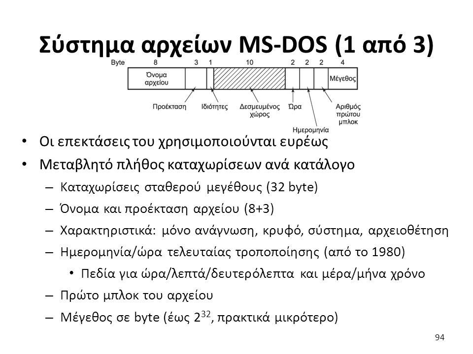 Σύστημα αρχείων MS-DOS (1 από 3) Οι επεκτάσεις του χρησιμοποιούνται ευρέως Μεταβλητό πλήθος καταχωρίσεων ανά κατάλογο – Καταχωρίσεις σταθερού μεγέθους