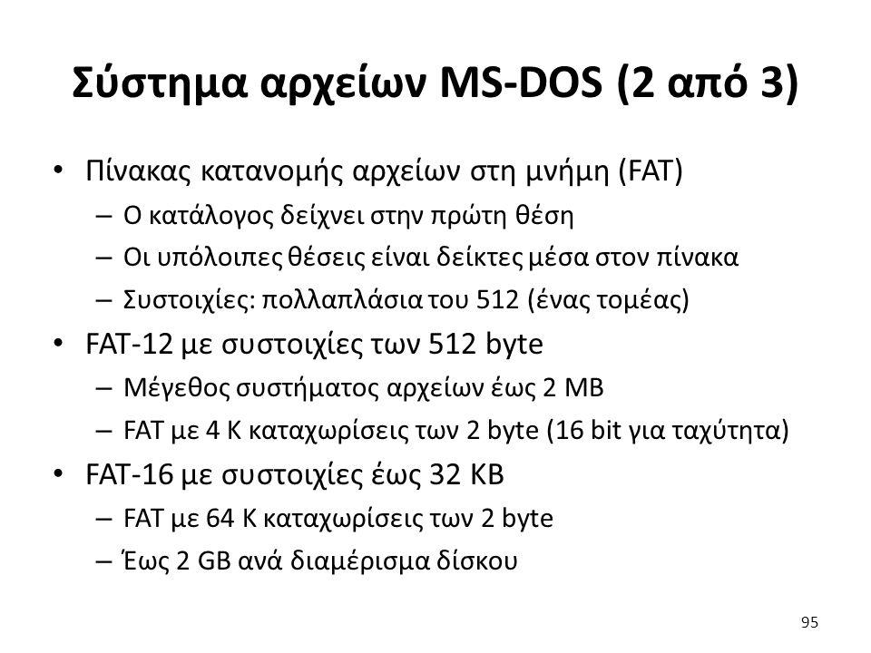 Σύστημα αρχείων MS-DOS (2 από 3) Πίνακας κατανομής αρχείων στη μνήμη (FAT) – Ο κατάλογος δείχνει στην πρώτη θέση – Οι υπόλοιπες θέσεις είναι δείκτες μ