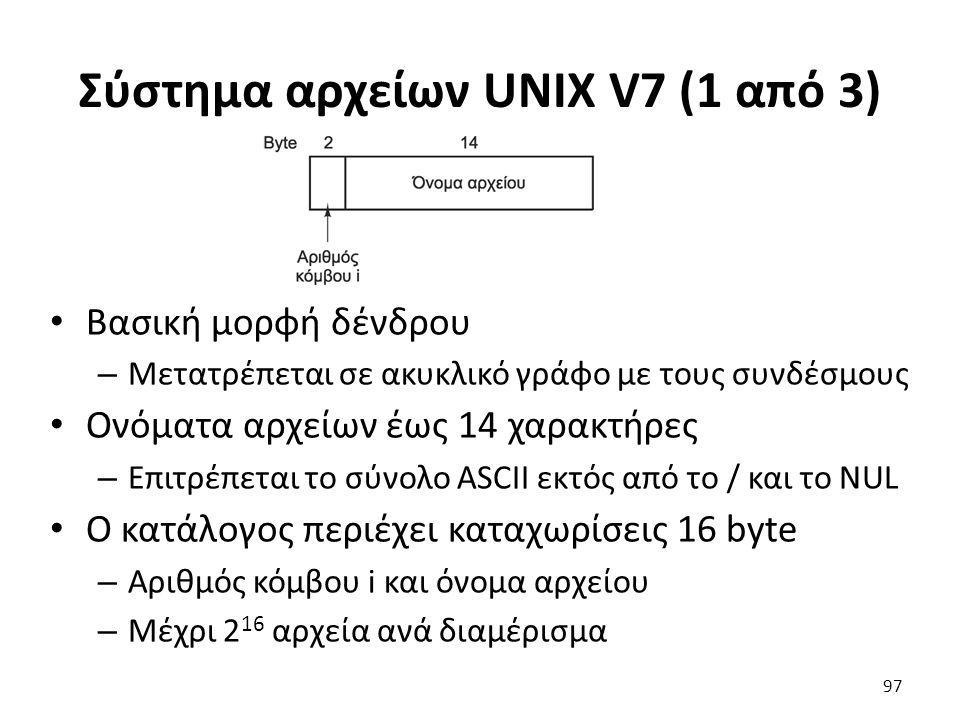 Σύστημα αρχείων UNIX V7 (1 από 3) Βασική μορφή δένδρου – Μετατρέπεται σε ακυκλικό γράφο με τους συνδέσμους Ονόματα αρχείων έως 14 χαρακτήρες – Επιτρέπ