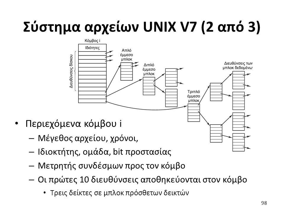 Σύστημα αρχείων UNIX V7 (2 από 3) Περιεχόμενα κόμβου i – Μέγεθος αρχείου, χρόνοι, – Ιδιοκτήτης, ομάδα, bit προστασίας – Μετρητής συνδέσμων προς τον κό