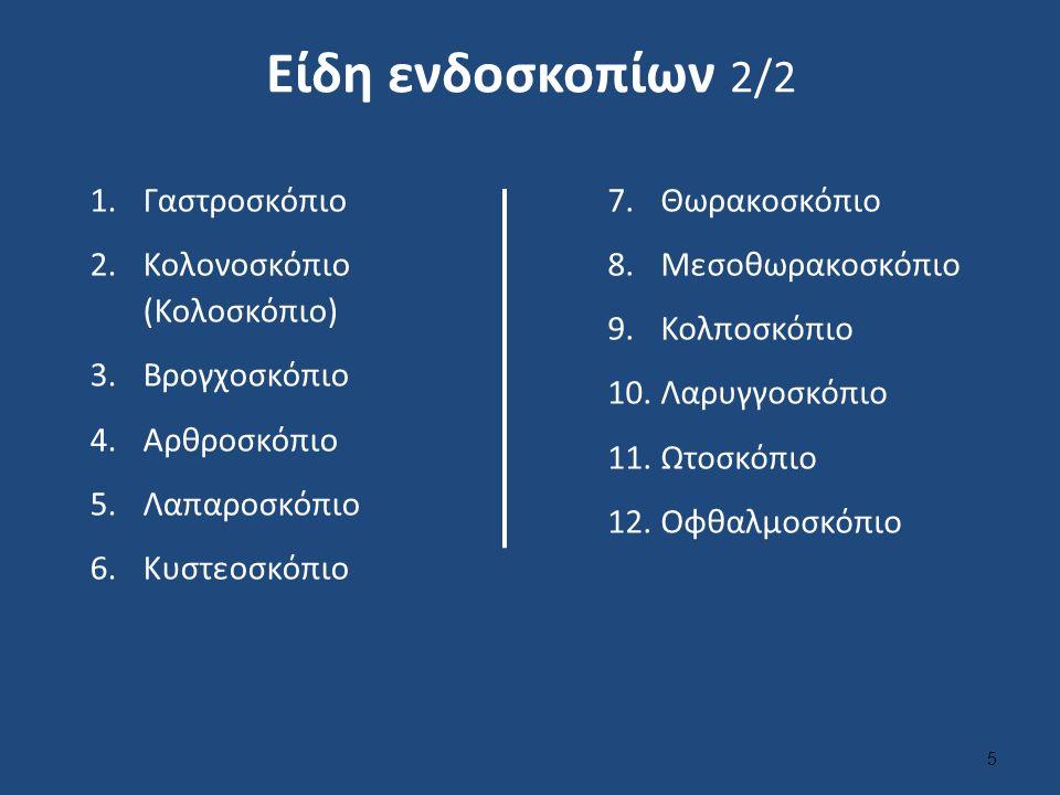 Είδη ενδοσκοπίων 2/2 1.Γαστροσκόπιο 2.Κολονοσκόπιο (Κολοσκόπιο) 3.Βρογχοσκόπιο 4.Αρθροσκόπιο 5.Λαπαροσκόπιο 6.Κυστεοσκόπιο 7.Θωρακοσκόπιο 8.Μεσοθωρακοσκόπιο 9.Κολποσκόπιο 10.Λαρυγγοσκόπιο 11.Ωτοσκόπιο 12.Οφθαλμοσκόπιο 5