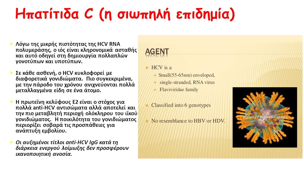 Ηπατίτιδα C (η σιωπηλή επιδημία)  Λόγω της μικρής πιστότητας της HCV RNA πολυμεράσης, ο ιός είναι κληρονομικά ασταθής και αυτό οδηγεί στη δημιουργία