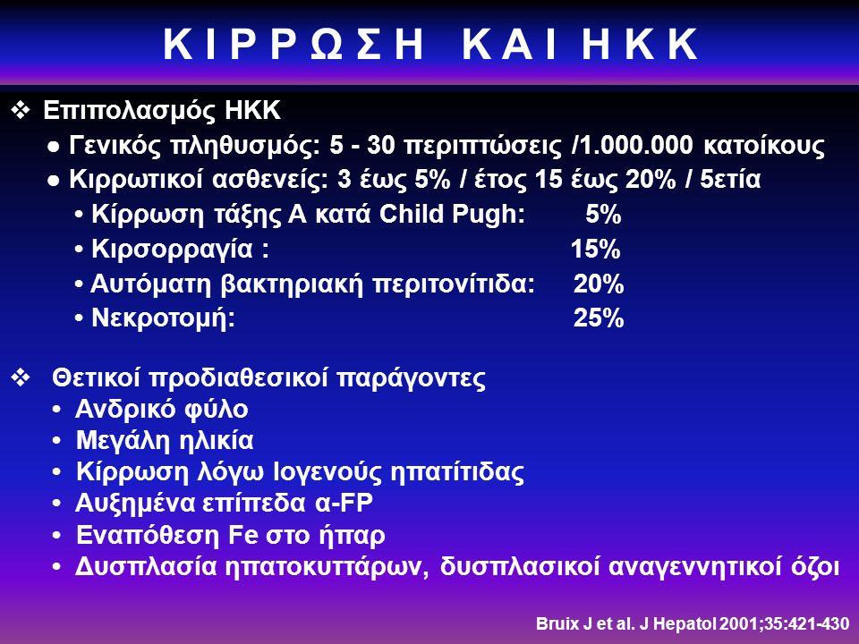 Κ Ι Ρ Ρ Ω Σ Η Κ Α Ι Η Κ Κ  Επιπολασμός ΗΚΚ ● Γενικός πληθυσμός: 5 - 30 περιπτώσεις /1.000.000 κατοίκους ● Κιρρωτικοί ασθενείς: 3 έως 5% / έτος 15 έως 20% / 5ετία Κίρρωση τάξης Α κατά Child Pugh: 5% Κιρσορραγία : 15% Αυτόματη βακτηριακή περιτονίτιδα: 20% Νεκροτομή: 25%  Θετικοί προδιαθεσικοί παράγοντες Ανδρικό φύλο Μεγάλη ηλικία Κίρρωση λόγω Ιογενούς ηπατίτιδας Αυξημένα επίπεδα α-FP Εναπόθεση Fe στο ήπαρ Δυσπλασία ηπατοκυττάρων, δυσπλασικοί αναγεννητικοί όζοι Bruix J et al.