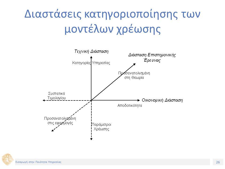 26 Εισαγωγή στην Ποιότητα Υπηρεσίας Διαστάσεις κατηγοριοποίησης των μοντέλων χρέωσης
