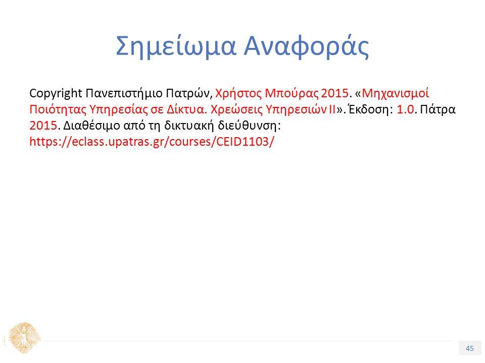 45 Εισαγωγή στην Ποιότητα Υπηρεσίας Σημείωμα Αναφοράς Copyright Πανεπιστήμιο Πατρών, Χρήστος Μπούρας 2015.