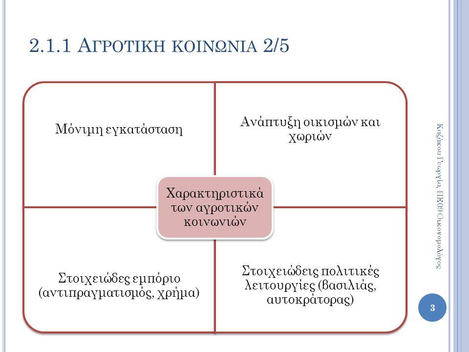 Χαρακτηριστικά της ελληνικής κοινωνίας Η εξάρτηση και η υποτέλειαΗ καθυστερημένη βιομηχανική ανάπτυξηΗ αστικοποίησηΗ κυριαρχία της μικρής ιδιοκτησίαςΟι πελατειακές σχέσειςΗ παρασιτική νοοτροπία 24 2.2 ΒΑΣΙΚΑ ΧΑΡΑΚΤΗΡΙΣΤΙΚΑ ΤΗΣ ΕΛΛΗΝΙΚΗΣ ΚΟΙΝΩΝΙΑΣ 2/5 Καζάκου Γεωργία, ΠΕ09 Οικονομολόγος