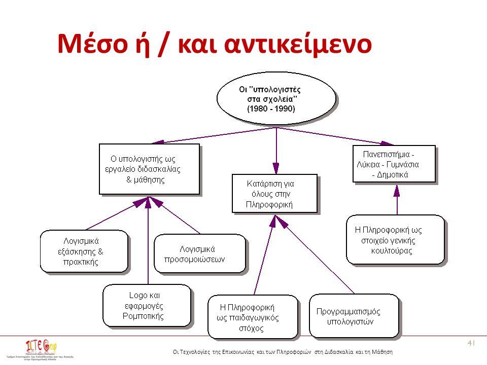 Οι Τεχνολογίες της Επικοινωνίας και των Πληροφοριών στη Διδασκαλία και τη Μάθηση Μέσο ή / και αντικείμενο 41