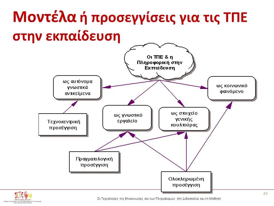 Οι Τεχνολογίες της Επικοινωνίας και των Πληροφοριών στη Διδασκαλία και τη Μάθηση Μοντέλα ή προσεγγίσεις για τις ΤΠΕ στην εκπαίδευση 49