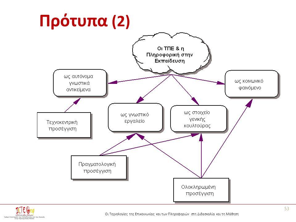 Οι Τεχνολογίες της Επικοινωνίας και των Πληροφοριών στη Διδασκαλία και τη Μάθηση Πρότυπα (2) 53