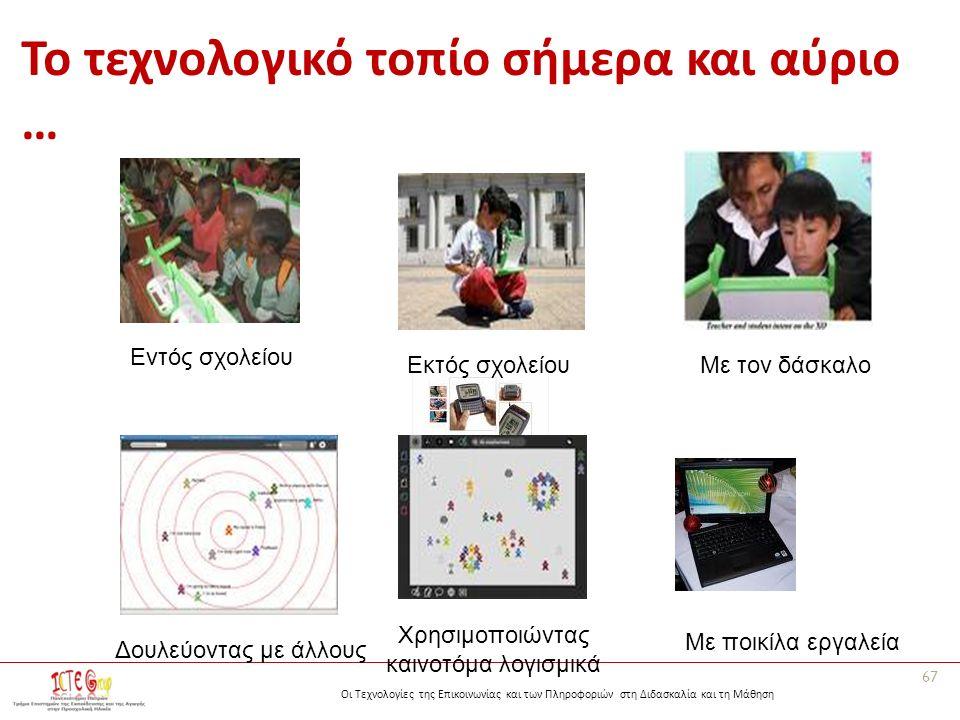 Οι Τεχνολογίες της Επικοινωνίας και των Πληροφοριών στη Διδασκαλία και τη Μάθηση Το τεχνολογικό τοπίο σήμερα και αύριο … 67 Εντός σχολείου Εκτός σχολε