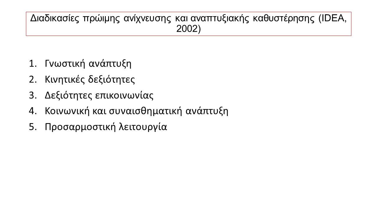 Διαδικασίες πρώιμης ανίχνευσης και αναπτυξιακής καθυστέρησης (IDEA, 2002) 1.Γνωστική ανάπτυξη 2.Κινητικές δεξιότητες 3.Δεξιότητες επικοινωνίας 4.Κοινω