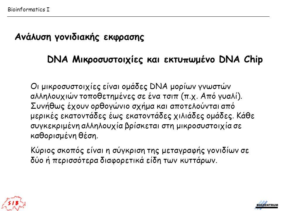 Ανάλυση γονιδιακής εκφρασης DNA Μικροσυστοιχίες και εκτυπωμένο DNA Chip Οι μικροσυστοιχίες είναι ομάδες DNA μορίων γνωστών αλληλουχιών τοποθετημένες σ
