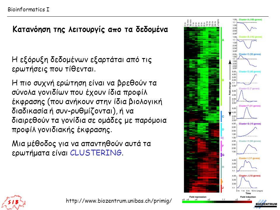 http://www.biozentrum.unibas.ch/primig/ Bioinformatics I Η εξόρυξη δεδομένων εξαρτάται από τις ερωτήσεις που τίθενται. Η πιο συχνή ερώτηση είναι να βρ