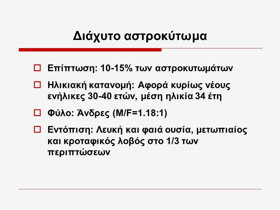 Διάχυτο αστροκύτωμα  Επίπτωση: 10-15% των αστροκυτωμάτων  Ηλικιακή κατανομή: Αφορά κυρίως νέους ενήλικες 30-40 ετών, μέση ηλικία 34 έτη  Φύλο: Άνδρ