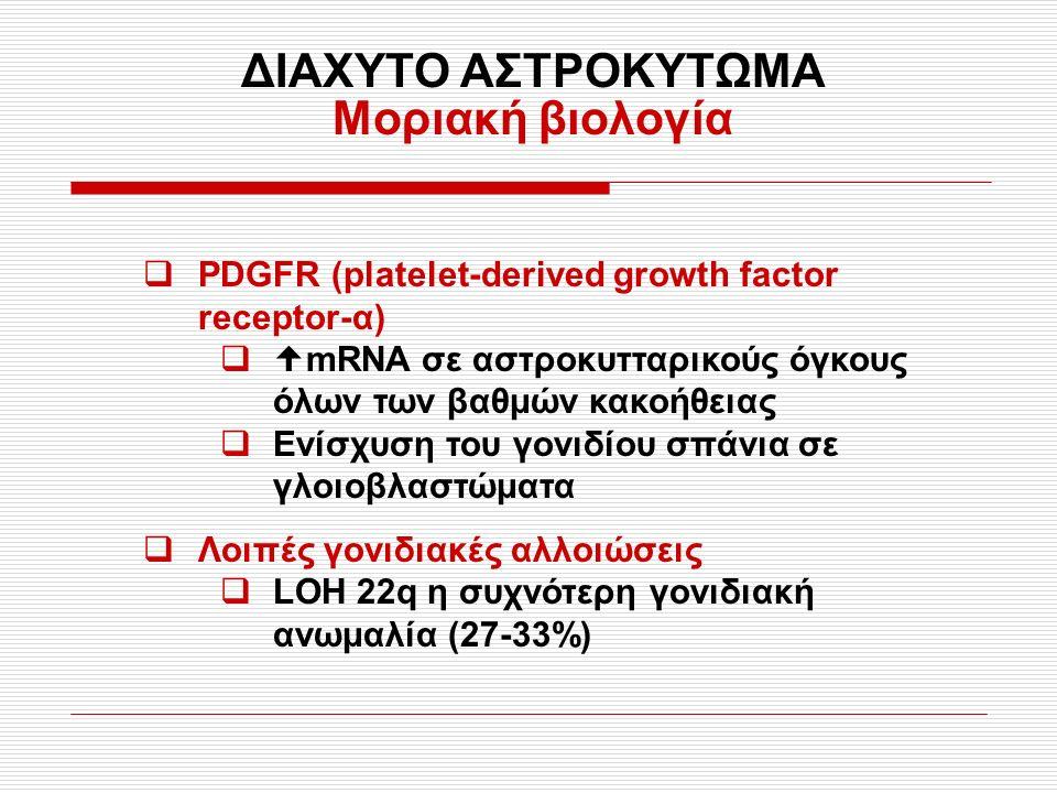 ΔΙΑΧΥΤΟ ΑΣΤΡΟΚΥΤΩΜΑ Μοριακή βιολογία  PDGFR (platelet-derived growth factor receptor-α)   mRNA σε αστροκυτταρικούς όγκους όλων των βαθμών κακοήθειας  Ενίσχυση του γονιδίου σπάνια σε γλοιοβλαστώματα  Λοιπές γονιδιακές αλλοιώσεις  LOH 22q η συχνότερη γονιδιακή ανωμαλία (27-33%)