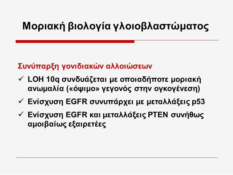 Μοριακή βιολογία γλοιοβλαστώματος Συνύπαρξη γονιδιακών αλλοιώσεων LOH 10q συνδυάζεται με οποιαδήποτε μοριακή ανωμαλία («όψιμο» γεγονός στην ογκογένεση) Ενίσχυση EGFR συνυπάρχει με μεταλλάξεις p53 Ενίσχυση EGFR και μεταλλάξεις ΡΤΕΝ συνήθως αμοιβαίως εξαιρετέες