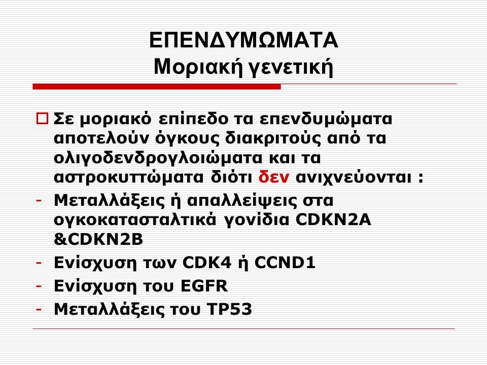 ΕΠΕΝΔΥΜΩΜΑTA Μοριακή γενετική  Σε μοριακό επίπεδο τα επενδυμώματα αποτελούν όγκους διακριτούς από τα ολιγοδενδρογλοιώματα και τα αστροκυττώματα διότι δεν ανιχνεύονται : -Μεταλλάξεις ή απαλλείψεις στα ογκοκατασταλτικά γονίδια CDKN2A &CDKN2B -Ενίσχυση των CDK4 ή CCND1 -Ενίσχυση του EGFR -Μεταλλάξεις του ΤP53