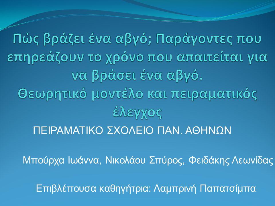 Μπούρχα Ιωάννα, Νικολάου Σπύρος, Φειδάκης Λεωνίδας ΠΕΙΡΑΜΑΤΙΚΟ ΣΧΟΛΕΙΟ ΠΑΝ.