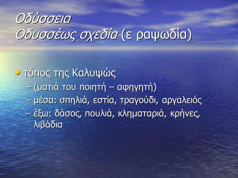 τόπος Οδυσσέα τόπος Οδυσσέα πρώτη εμφάνισή του στο έπος –ακτή –πέλαγος –δάκρυα