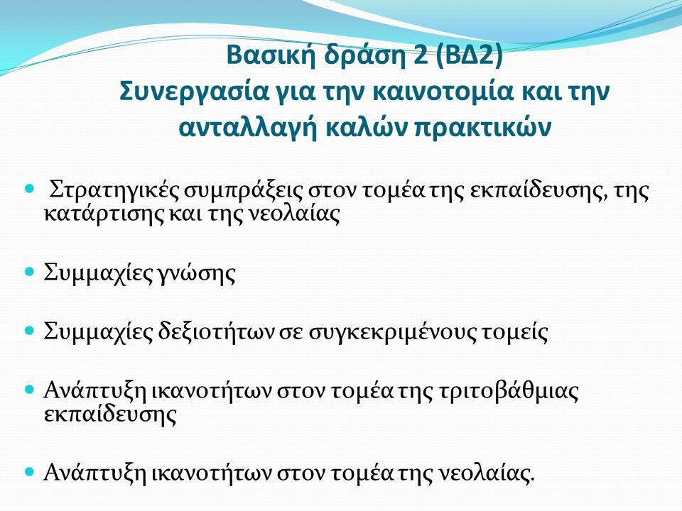 Βασική δράση 2 (ΒΔ2) Συνεργασία για την καινοτομία και την ανταλλαγή καλών πρακτικών Στρατηγικές συμπράξεις στον τομέα της εκπαίδευσης, της κατάρτισης και της νεολαίας Συμμαχίες γνώσης Συμμαχίες δεξιοτήτων σε συγκεκριμένους τομείς Ανάπτυξη ικανοτήτων στον τομέα της τριτοβάθμιας εκπαίδευσης Ανάπτυξη ικανοτήτων στον τομέα της νεολαίας.