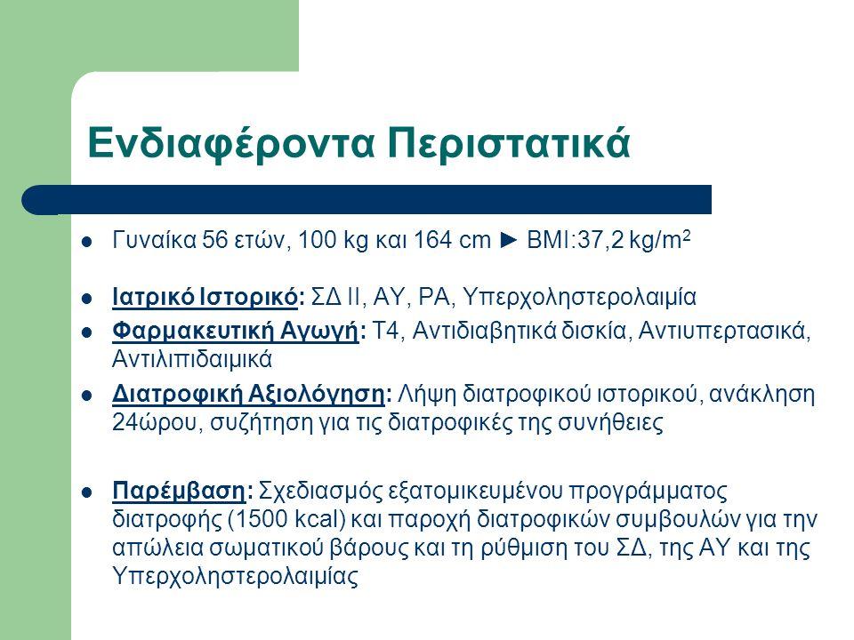 Ενδιαφέροντα Περιστατικά Γυναίκα 56 ετών, 100 kg και 164 cm ► BMI:37,2 kg/m 2 Ιατρικό Ιστορικό: ΣΔ ΙΙ, ΑΥ, ΡΑ, Υπερχοληστερολαιμία Φαρμακευτική Αγωγή: Τ4, Αντιδιαβητικά δισκία, Αντιυπερτασικά, Αντιλιπιδαιμικά Διατροφική Αξιολόγηση: Λήψη διατροφικού ιστορικού, ανάκληση 24ώρου, συζήτηση για τις διατροφικές της συνήθειες Παρέμβαση: Σχεδιασμός εξατομικευμένου προγράμματος διατροφής (1500 kcal) και παροχή διατροφικών συμβουλών για την απώλεια σωματικού βάρους και τη ρύθμιση του ΣΔ, της ΑΥ και της Υπερχοληστερολαιμίας