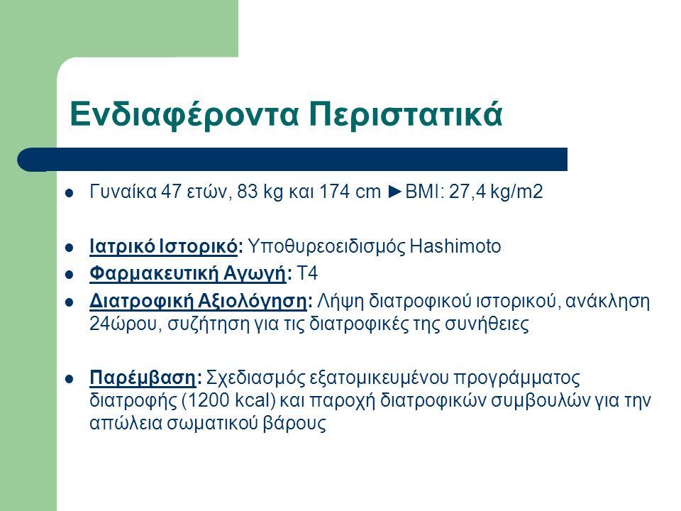 Ενδιαφέροντα Περιστατικά Γυναίκα 47 ετών, 83 kg και 174 cm ►BMI: 27,4 kg/m2 Ιατρικό Ιστορικό: Υποθυρεοειδισμός Hashimoto Φαρμακευτική Αγωγή: Τ4 Διατροφική Αξιολόγηση: Λήψη διατροφικού ιστορικού, ανάκληση 24ώρου, συζήτηση για τις διατροφικές της συνήθειες Παρέμβαση: Σχεδιασμός εξατομικευμένου προγράμματος διατροφής (1200 kcal) και παροχή διατροφικών συμβουλών για την απώλεια σωματικού βάρους