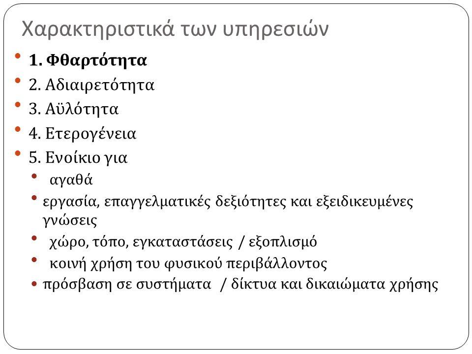 Χαρακτηριστικά των υπηρεσιών 1. Φθαρτότητα 2. Αδιαιρετότητα 3.
