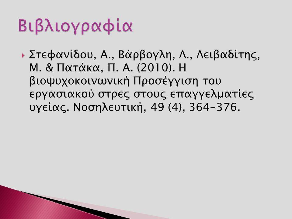  Στεφανίδου, Α., Βάρβογλη, Λ., Λειβαδίτης, Μ. & Πατάκα, Π. Α. (2010). Η βιοψυχοκοινωνική Προσέγγιση του εργασιακού στρες στους επαγγελματίες υγείας.