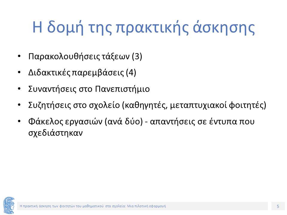 5 Η πρακτική άσκηση των φοιτητών του μαθηματικού στα σχολεία: Μια πιλοτική εφαρμογή Η δομή της πρακτικής άσκησης Παρακολουθήσεις τάξεων (3) Διδακτικές παρεμβάσεις (4) Συναντήσεις στο Πανεπιστήμιο Συζητήσεις στο σχολείο (καθηγητές, μεταπτυχιακοί φοιτητές) Φάκελος εργασιών (ανά δύο) - απαντήσεις σε έντυπα που σχεδιάστηκαν