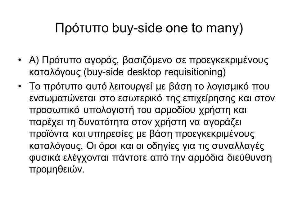 Πρότυπο buy-side one to many) Α) Πρότυπο αγοράς, βασιζόμενο σε προεγκεκριμένους καταλόγους (buy-side desktop requisitioning) Το πρότυπο αυτό λειτουργεί με βάση το λογισμικό που ενσωματώνεται στο εσωτερικό της επιχείρησης και στον προσωπικό υπολογιστή του αρμοδίου χρήστη και παρέχει τη δυνατότητα στον χρήστη να αγοράζει προϊόντα και υπηρεσίες με βάση προεγκεκριμένους καταλόγους.