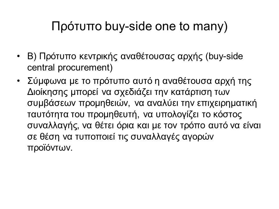 Πρότυπο buy-side one to many) Β) Πρότυπο κεντρικής αναθέτουσας αρχής (buy-side central procurement) Σύμφωνα με το πρότυπο αυτό η αναθέτουσα αρχή της Διοίκησης μπορεί να σχεδιάζει την κατάρτιση των συμβάσεων προμηθειών, να αναλύει την επιχειρηματική ταυτότητα του προμηθευτή, να υπολογίζει το κόστος συναλλαγής, να θέτει όρια και με τον τρόπο αυτό να είναι σε θέση να τυποποιεί τις συναλλαγές αγορών προϊόντων.