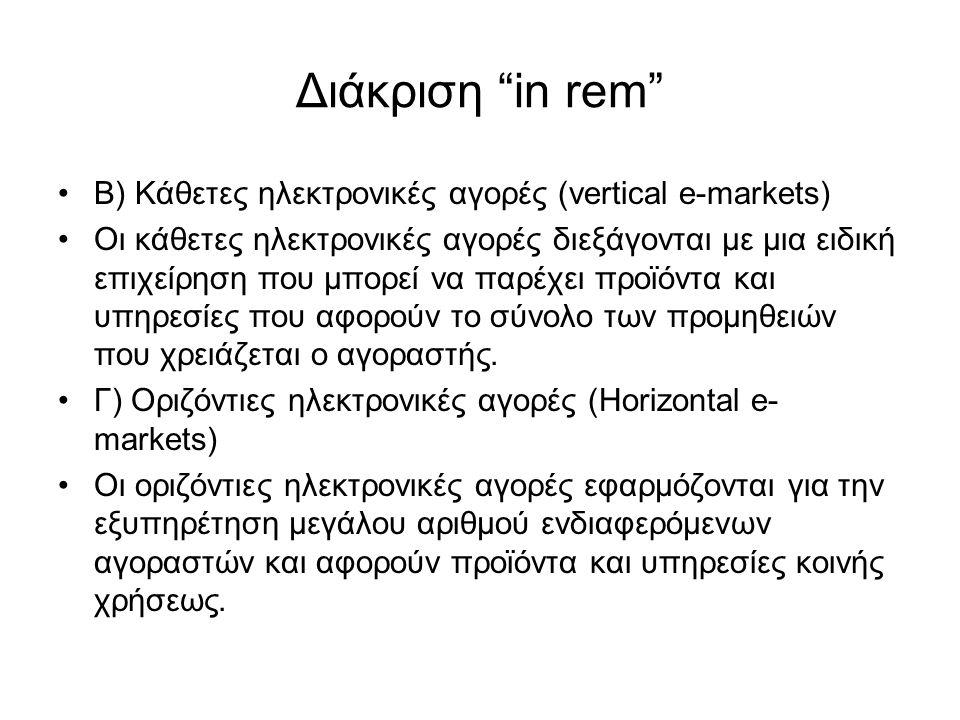 Διάκριση in rem Β) Κάθετες ηλεκτρονικές αγορές (vertical e-markets) Οι κάθετες ηλεκτρονικές αγορές διεξάγονται με μια ειδική επιχείρηση που μπορεί να παρέχει προϊόντα και υπηρεσίες που αφορούν το σύνολο των προμηθειών που χρειάζεται ο αγοραστής.