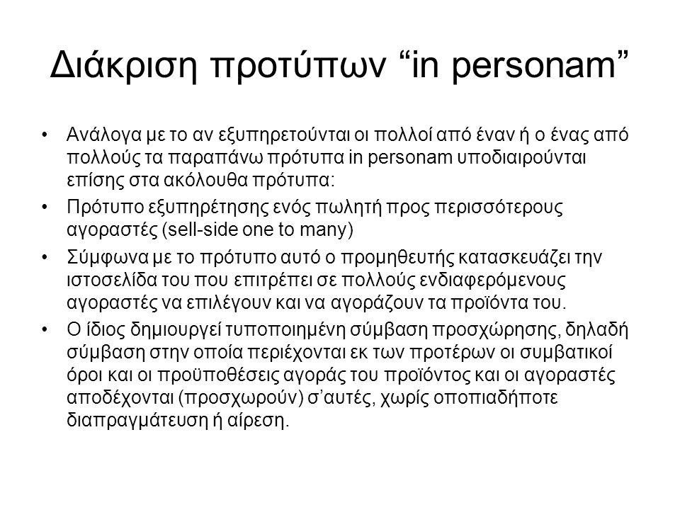 Διάκριση προτύπων in personam Ανάλογα με το αν εξυπηρετούνται οι πολλοί από έναν ή ο ένας από πολλούς τα παραπάνω πρότυπα in personam υποδιαιρούνται επίσης στα ακόλουθα πρότυπα: Πρότυπο εξυπηρέτησης ενός πωλητή προς περισσότερους αγοραστές (sell-side one to many) Σύμφωνα με το πρότυπο αυτό ο προμηθευτής κατασκευάζει την ιστοσελίδα του που επιτρέπει σε πολλούς ενδιαφερόμενους αγοραστές να επιλέγουν και να αγοράζουν τα προϊόντα του.