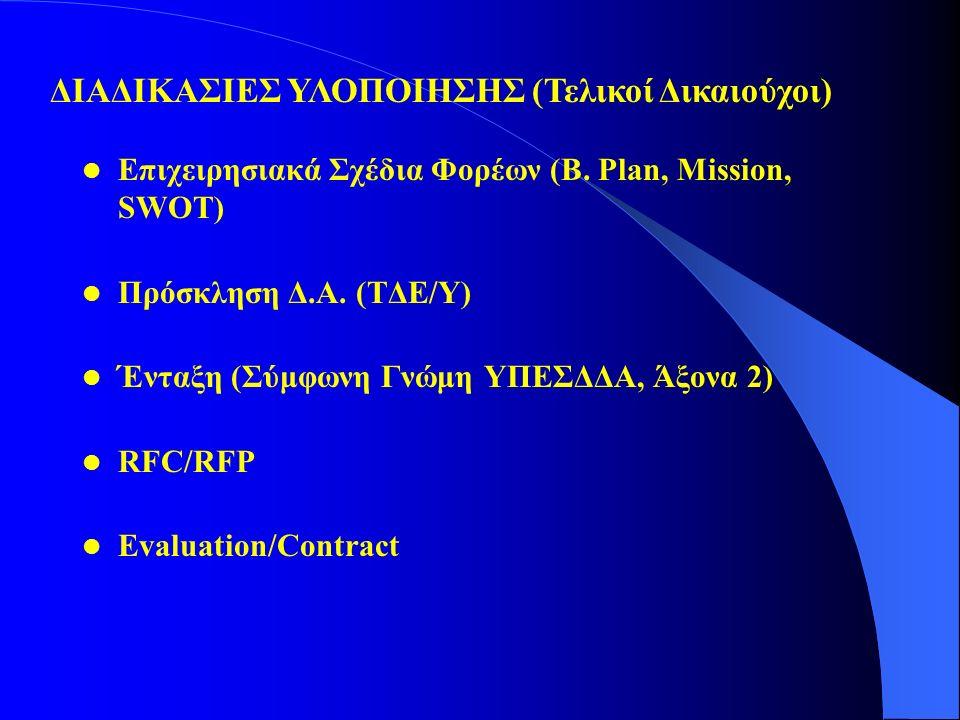 Επιχειρησιακά Σχέδια Φορέων (B. Plan, Mission, SWOT) Πρόσκληση Δ.Α. (ΤΔΕ/Υ) Ένταξη (Σύμφωνη Γνώμη ΥΠΕΣΔΔΑ, Άξονα 2) RFC/RFP Evaluation/Contract ΔΙΑΔΙΚ