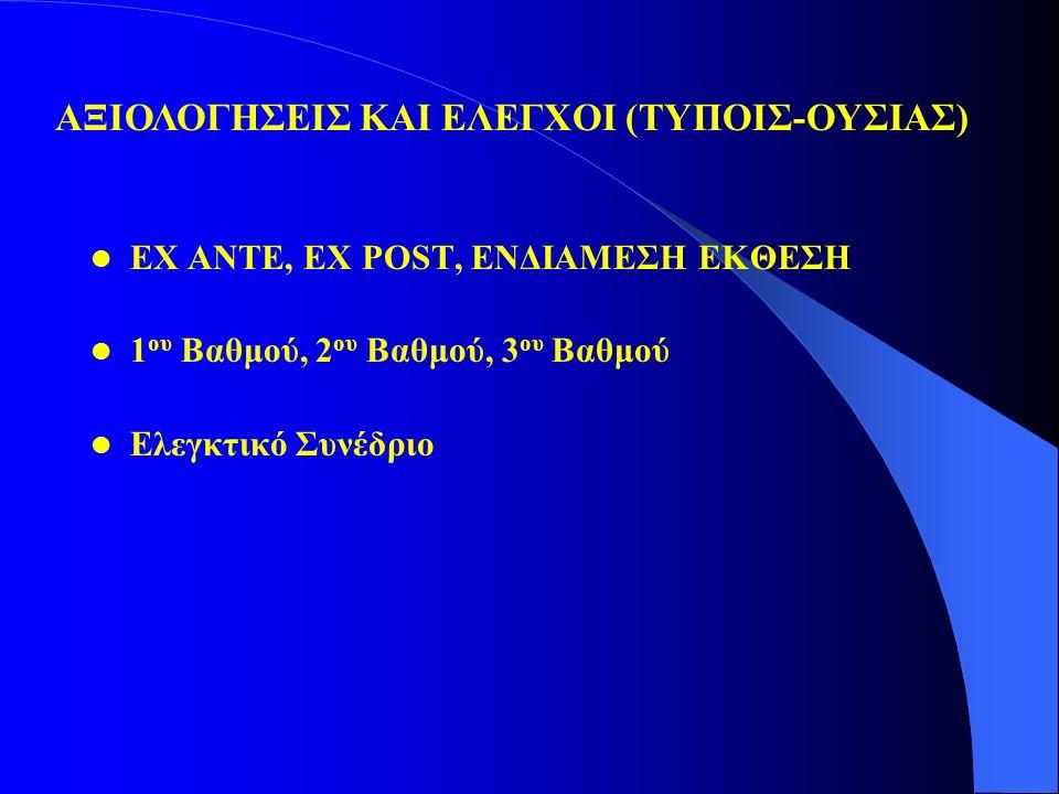 EX ANTE, EX POST, ΕΝΔΙΑΜΕΣΗ ΕΚΘΕΣΗ 1 ου Βαθμού, 2 ου Βαθμού, 3 ου Βαθμού Ελεγκτικό Συνέδριο ΑΞΙΟΛΟΓΗΣΕΙΣ ΚΑΙ ΕΛΕΓΧΟΙ (ΤΥΠΟΙΣ-ΟΥΣΙΑΣ)