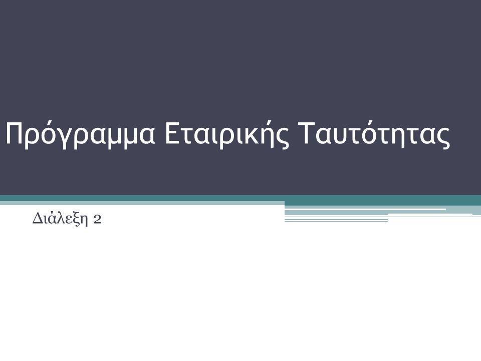 Πρόγραμμα Εταιρικής Ταυτότητας Διάλεξη 2