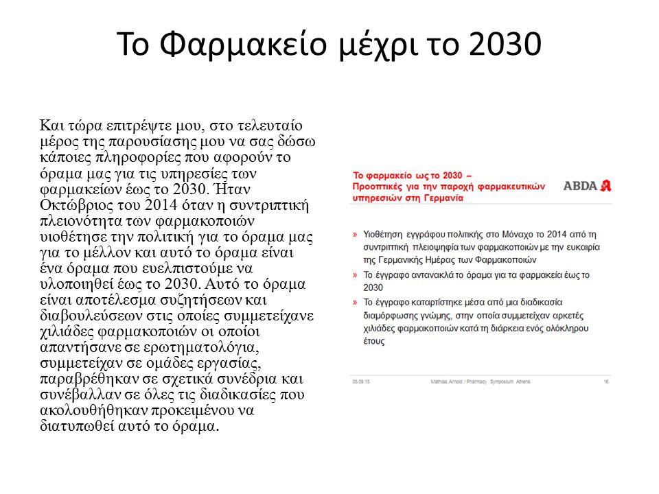 Το Φαρμακείο μέχρι το 2030 Και τώρα επιτρέψτε μου, στο τελευταίο μέρος της παρουσίασης μου να σας δώσω κάποιες πληροφορίες που αφορούν το όραμα μας για τις υπηρεσίες των φαρμακείων έως το 2030.