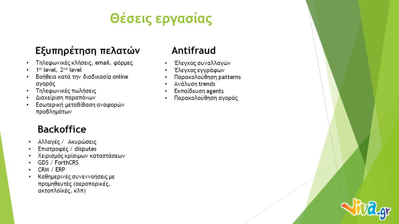 Θέσεις εργασίας Εξυπηρέτηση πελατών Antifraud Τηλεφωνικές κλήσεις, email, φόρμες 1 st level, 2 nd level Βοήθεια κατά την διαδικασία online αγοράς Τηλεφωνικές πωλήσεις Διαχείριση παραπόνων Εσωτερική μεταβίβαση αναφορών προβλημάτων Backoffice Αλλαγές / Ακυρώσεις Επιστροφές / disputes Χειρισμός κρίσιμων καταστάσεων GDS / ForthCRS CRM / ERP Καθημερινές συνεννοήσεις με προμηθευτές (αεροπορικές, ακτοπλοϊκές, κλπ) Έλεγχος συναλλαγών Έλεγχος εγγράφων Παρακολούθηση patterns Ανάλυση trends Εκπαίδευση agents Παρακολούθηση αγοράς