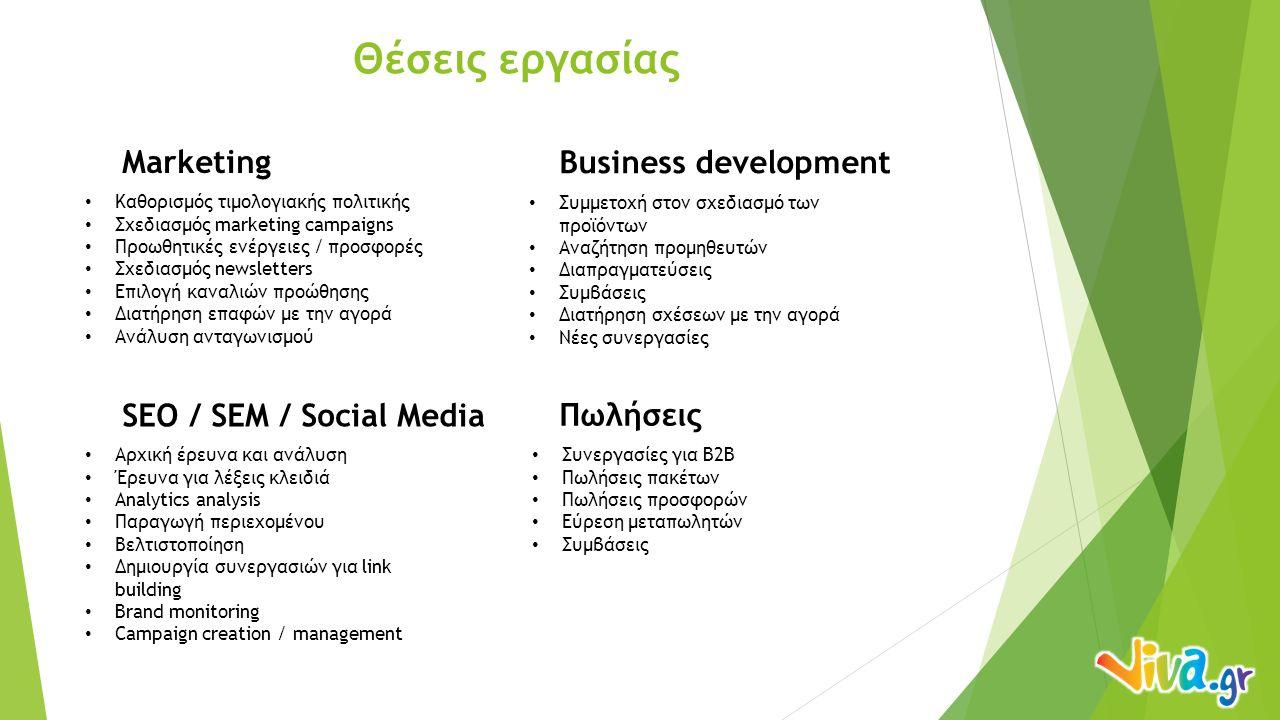 Θέσεις εργασίας Marketing Business development Καθορισμός τιμολογιακής πολιτικής Σχεδιασμός marketing campaigns Προωθητικές ενέργειες / προσφορές Σχεδιασμός newsletters Επιλογή καναλιών προώθησης Διατήρηση επαφών με την αγορά Ανάλυση ανταγωνισμού SEO / SEM / Social Media Αρχική έρευνα και ανάλυση Έρευνα για λέξεις κλειδιά Analytics analysis Παραγωγή περιεχομένου Βελτιστοποίηση Δημιουργία συνεργασιών για link building Brand monitoring Campaign creation / management Συμμετοχή στον σχεδιασμό των προϊόντων Αναζήτηση προμηθευτών Διαπραγματεύσεις Συμβάσεις Διατήρηση σχέσεων με την αγορά Νέες συνεργασίες Πωλήσεις Συνεργασίες για B2B Πωλήσεις πακέτων Πωλήσεις προσφορών Εύρεση μεταπωλητών Συμβάσεις