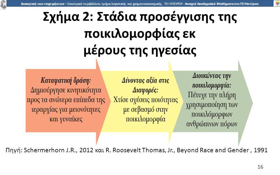 1616 Διοικητική των επιχειρήσεων – Εσωτερικό περιβάλλον, τμήμα λογιστικής και χρηματοοικονομικής, ΤΕΙ ΗΠΕΙΡΟΥ - Ανοιχτά Ακαδημαϊκά Μαθήματα στο ΤΕΙ Ηπείρου Σχήµα 2: Στάδια προσέγγισης της ποικιλοµορφίας εκ µέρους της ηγεσίας 16 Πηγή: Schermerhorn J.R., 2012 και R.