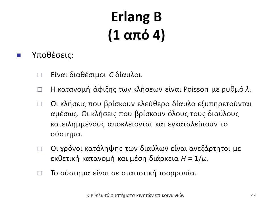 Erlang B (1 από 4) Υποθέσεις:  Είναι διαθέσιμοι C δίαυλοι.  Η κατανομή άφιξης των κλήσεων είναι Poisson με ρυθμό λ.  Οι κλήσεις που βρίσκουν ελεύθε