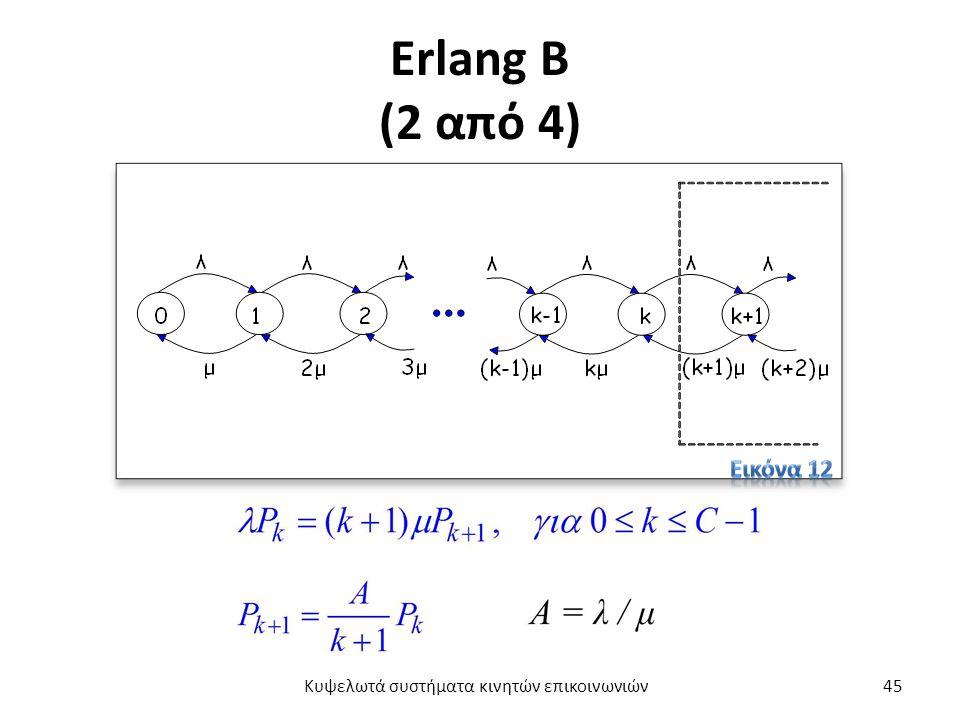 Erlang B (2 από 4) Κυψελωτά συστήματα κινητών επικοινωνιών45