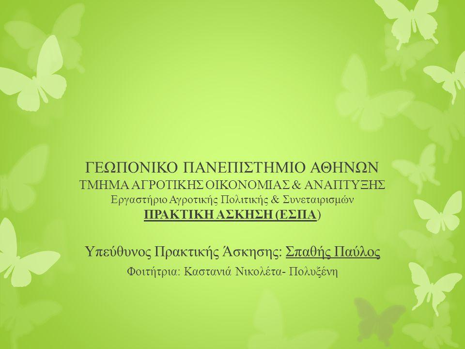 ΓΕΩΠΟΝΙΚΟ ΠΑΝΕΠΙΣΤΗΜΙΟ ΑΘΗΝΩΝ ΤΜΗΜΑ ΑΓΡΟΤΙΚΗΣ ΟΙΚΟΝΟΜΙΑΣ & ΑΝΑΠΤΥΞΗΣ Εργαστήριο Αγροτικής Πολιτικής & Συνεταιρισμών ΠΡΑΚΤΙΚΗ ΑΣΚΗΣΗ (ΕΣΠΑ) Υπεύθυνος Πρακτικής Άσκησης: Σπαθής Παύλος Φοιτήτρια: Καστανιά Νικολέτα- Πολυξένη