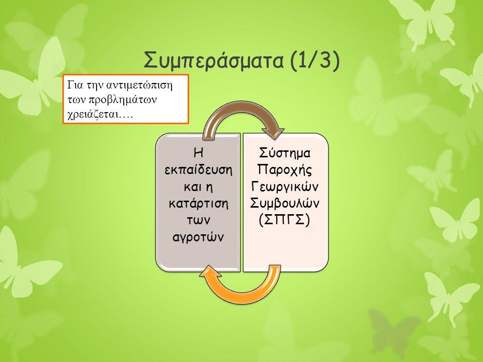Συμπεράσματα (1/3) Η εκπαίδευση και η κατάρτιση των αγροτών Σύστημα Παροχής Γεωργικών Συμβουλών (ΣΠΓΣ) Για την αντιμετώπιση των προβλημάτων χρειάζεται….