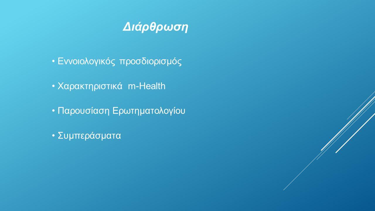 Διάρθρωση Εννοιολογικός προσδιορισμός Χαρακτηριστικά m-Health Παρουσίαση Ερωτηματολογίου Συμπεράσματα