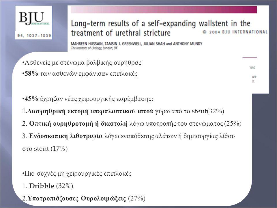 Ασθενείς με στένωμα βολβικής ουρήθρας 58% των ασθενών εμφάνισαν επιπλοκές 45% έχρηζαν νέας χειρουργικής παρέμβασης: 1. Διουρηθρική εκτομή υπερπλαστικο